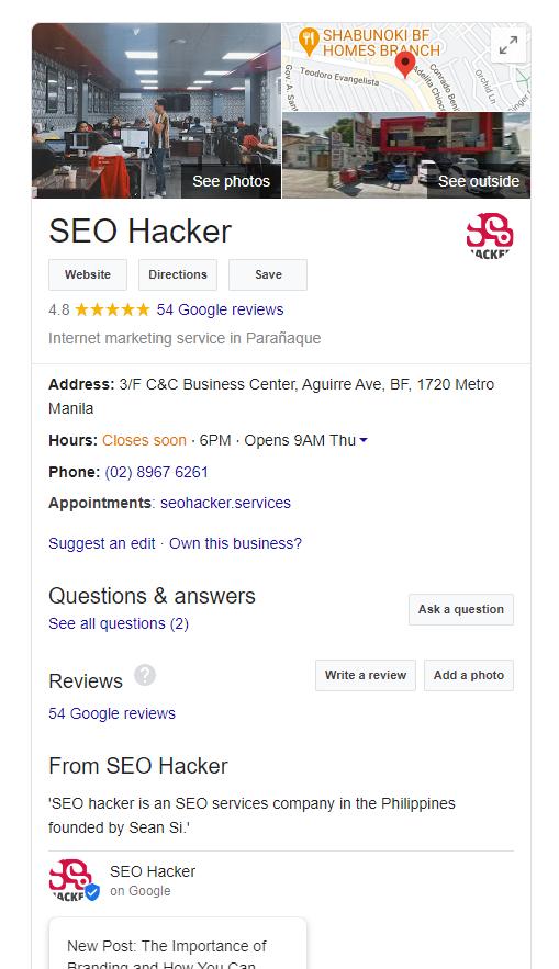 hacker SEO google mon profil d'entreprise